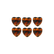6 Mini Hearts 1.8 cm Plastic Hair Clips - Brown