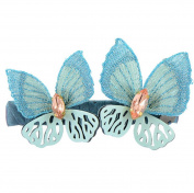 Metal Rhinestone Decor Embroidered Butterfly Shape Women Clip Barrette, Blue