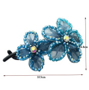 Lovely Vintage Crystal Flower Hair Twist Clip Hair Accessories, Blue