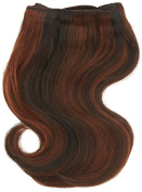Chear Body Wave 2-in-1 Weft Human Hair Extension with Premium Blend Weave Number P1B/33, Off Black/Dark Auburn 8-Inch
