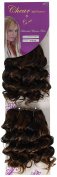 Chear Deep Wave 2-in-1 Weft Human Hair Extension with Premium Blend Weave Number P1B. Black/Medium Auburn 8-Inch