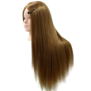 60cm Hairdressing & Makeup Practise Head Mannequin Doll 30% Real Hair Mannequin Hairdresser Head 27#
