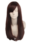 Topcosplay Women's Synthetic Long Straight Tilted Frisette Brown Cosplay Wig Halloween Costume Hair