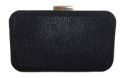 Solid Black Diamante Clutch Bag