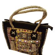 Suede leather Antique Patchwork Handbag Heavy weight and strong material