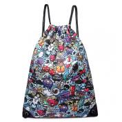Cartoon Graffiti Print Canvas Drawstring Slipper PE Gym Fashion Bag