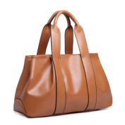 YS Classical Smooth Leather Tote Large Capacity Shoulder Bag Handbag For Ladies