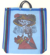 Leos Imports Women's Day of the Dead Katrina Mexican Mesh Market Bag Blue
