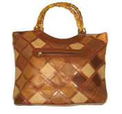 Leather Patchwork bag with bamboo handles