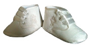 Baby boy ivory cross embroidery Christening Baptism pram shoes/booties