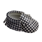 Infant Baby Boys Girls Classic Houndstooth Pu Leather moccasins Toddler Shoes