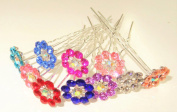 High Quality Elegant Snowflake Mix Colours Crystal Diamante Wedding Bridal Prom Hair Pins 10 pins With Silver Bindi/Tattoo Pack by Trendz