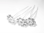 High Quality Elegant Snowflake Clear Crystal Diamante Wedding Bridal Prom Hair Pins 3 pins With Silver Bindi/Tattoo Pack by Trendz