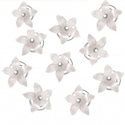Contever® 10 Pcs White Flower Bridal Wedding Hair Accessory Twister Coil Spiral Set with Simulated Rhinestone Crystal
