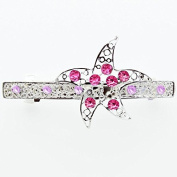 Pink 8cm Filigree Lace Silver Star Barrette French Clip with Coloured Diamante Crystals