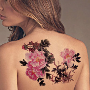 TAFLY Extra Large Lower Back Coloured Tree Peony Flower Temporary Tattoos Body Art Transfer Sticker for Womens 2 Sheets
