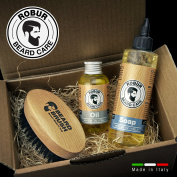 Set for the care of the beard, moisturising emollient oil 100 ml, mild detangling detergent 250 ml and beard brush. Beard sets man. Brush + soap + tonic. 100% made in Italy.