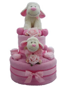 Baby Lamb Pink Two Tier Nappy Cake Baby Gift with FREE UK Delivery