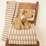 Tuppence and Crumble Fawn Breton Stripe Baby Blanket
