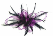 Purple Ribbon & Black Feathers Hair Fascinator Hand Made in UK