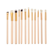 JACKY 12Pcs Cosmetic Eyebrow Eyeshadow Brush Makeup Brush Sets Kits Tools