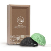 SALAV Konjac Facial Sponge Facial Cleaner Set 100% natural - Improve Blackheads, Oily & Acne Prone Skin, After-sun Repair 2 Pack (Charcoal Black + Green Tea) - Facial Scrub Skin Care for Gentle Deep Cleaning & Exfoliation