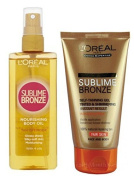 L'Oreal Sublime Bronze SELF TANNING DUO - Nourishing Body Oil 150ml + SELF TANNING GEL Face & Body Tinted & Shimmering FAIR 150ml