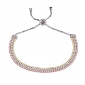 Ingenious Jewellery Sterling Silver Three Colour Gold Plated Adjustable Tennis Bracelet of 15-20cm