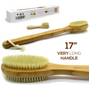 Luxury Bamboo Bath Brush Long 43cm Handle Back Body Scrubber For shower Fro dry / Wet Skin brushing Suitable for men / women