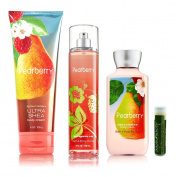Bath & Body Works Pearberry Fine Fragrance Mist 8 fl.oz/236 mL, Body Lotion 8 fl.oz/236 mL & Ultra Shea Body Cream 8 oz/226g With a Jarosa Bee Organic Peppermint Lip Balm