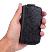 Car Keychain Key Holder Bag Wallet Cover 6 Key Hooks Zipper Case with Card Holder