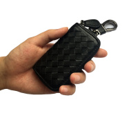 Men Leather Woven Zip Around Car Key Holder Case Pocket Keychain Wallet