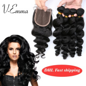 V-Emma Malaysian Virgin Hair Loose weave Lace Closure With Bundles Bleached Knots 100% Human Hair 4 Bundles With 3 part Closure 20x22x24x26+20