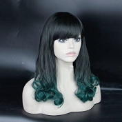 Grace Plus Body Wave Synthetic Hair Fashion Long Ombre Wig With Neat Bangs Tone 1b/Green 60cm 270ml