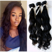 Foxys'Hair 3 Bundles Loose Wave Remy Human Hair Extensions Black Brazilian Hair Weft In Saw 300Gram/Lot