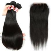 YIZE Hair 7A Unprocessed Virgin Brazilian Hair Straight 3 Bundles 100% Human Hair Closure Weave 3 Part 4*4 Black Colour