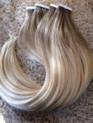 Moresoo 60cm 20pcs/50g Dip-dye Colour Ash Brown to Bleach Blonde(#613) 100% Straight Remy Human Hair Two Tone Coloured Ombre Seamless Skin Weft Glue In Hair Extensions