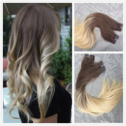 Moresoo 36cm 20pcs/50g 100% Straight Remy Human Hair Seamless Tape In Hair Extensions Medium Ash Brown to Pale Blonde Pastel Ombre Coloured Hair Extensions