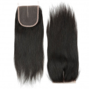 YIZE Hair 7A Virgin Brazilian Straight Hair 3 Bundles With Lace Closure Weave 100% Unprocessed Straight Closure Human Hair Natural Black Colour 4*4 Middle Part