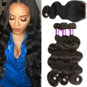 B & P Hair Brazilian Virgin Hair Body Wave 3 Bundles with Exquisite Swiss Lace Closure 4*4 Middle Part Unprocessed Virgin Human Hair Extensions