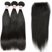 YIZE Hair Straight Brazilian Virgin Hair 3 Bundles With Straight Closure Weave Unprocessed Human Hair Natural Black Colour Frontal Closure 4*4 Free Part