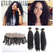Ear To Ear 13x 4 Lace Frontal Closure With 3 Bundles Brazilian Virgin Hair Deep Curly Wave 4Pcs/lot Human Hair Weave Natural Colour Unprocessed Raw Hair -28 28 28+50cm