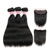 Fabeauty Grade 7a 100% Unprocessed Top Quality Natural Colour Brazilian Virgin Hair Straight Weave Lace Frontal Closure with Bundles Brazilian Straight Weave Human Hair Weft 3 Pcs with Full Frontal Lace Closure(13*4)