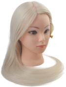 60cm Cosmetology Mannequin Manikin Training Head with Synthetic Hair, Practise Training Hair Styling Mannequin Head - Blonde
