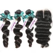"Rosabeauty Loose wave Brazilian Virgin Human Hair Weave Weft 3 Bundles with 4""x3.5"" Lace Closure Middle Part 7a Grade 100% Unprocessed Extensions Natural Colour"