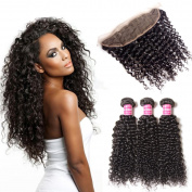 Beauty Forever Brazilian Virgin Curly Human Hair 13x 4 ear to ear Full Lace Frontal Closure with 3 Bundles Curly Hair Weave Natural Colour
