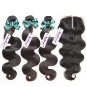 "Rosabeauty Body wave Brazilian Virgin Human Hair Weave Weft 3 Bundles with 4""x3.5"" Lace Closure Middle Part 7a Grade 100% Unprocessed Extensions Natural Colour"