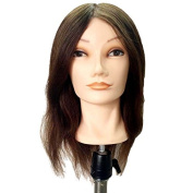Honey Qiao 41cm Inch Brown Colour Hairdressing 100% Professional Real Hair Training Head Cosmetology Mannequin Head W/clamp for College Salon and Professional Hair Cutting Braiding Setting