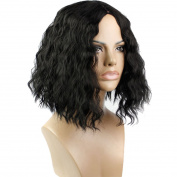 Wig Mall Women Fashion Wig Short BOBO Corn Wave Natural Middle Parting Synthetic Black