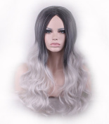 AneShe Long Wavy Black Root Ombre Silver Grey Curly Wig Synthetic Hair Wigs for Women